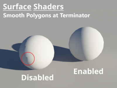 Comparison Smooth Polygon Terminator enabled and disabled.
