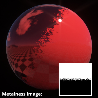 Image map assigned to Metalness image setting.