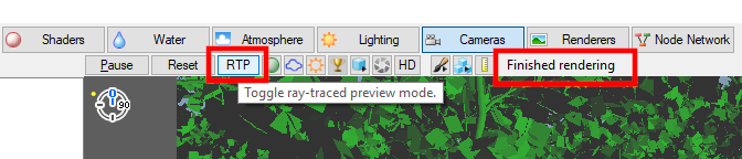 Click on the RTP button to enable Ray Traced Preview mode.