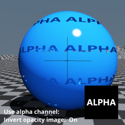Use alpha channel and Invert opacity image enabled.