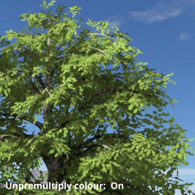 Black fringe around tree leafs removed by enabling Premultiply colour.
