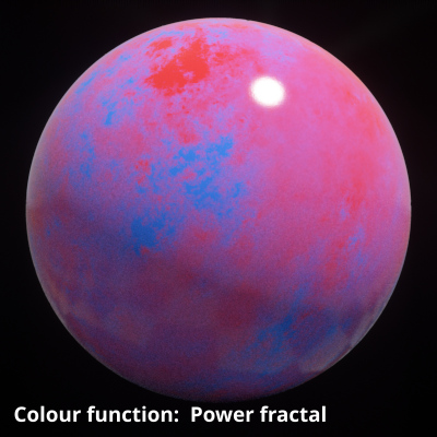 Power fractal shader assigned to Colour function setting.