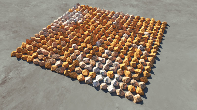 Rendered image of rock population with the diffuse colour multiplier enabled.