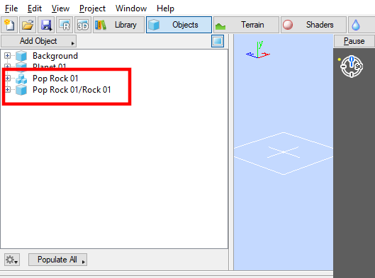 The rock population node and the 3D geometry node in the Object List.