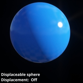 Displaceable 3D sphere object without displacement.