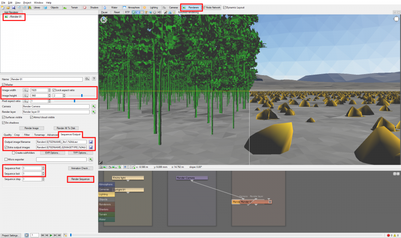 Set up the render information then click on the Render Sequence button.