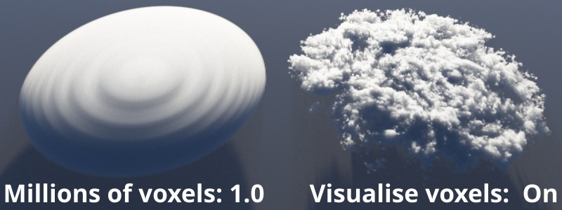 Visualise voxels on.  Millions of voxels  = 1.0