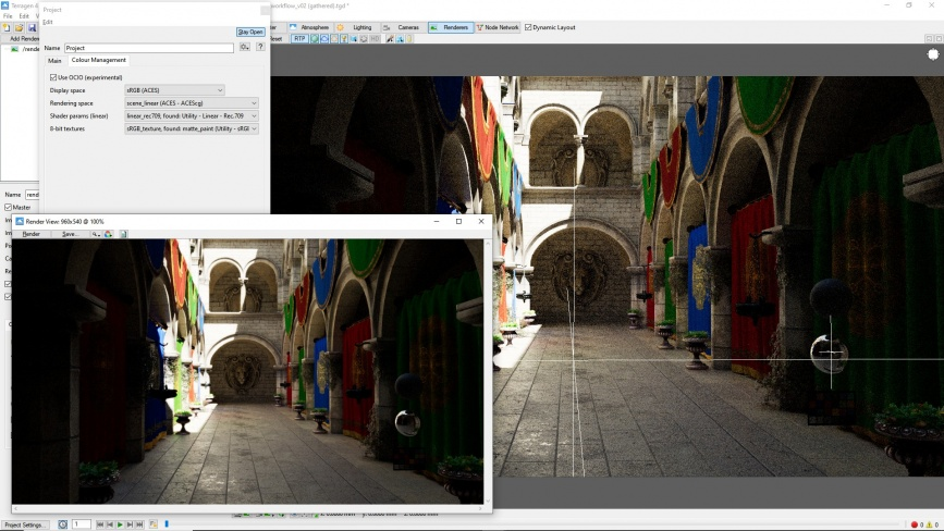 Terragen's 3D Preview pane and Render View pane using OCIO colour management and ACES colour space.