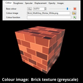 Colour derived by multiplying Base colour and pixels from image map.