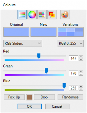 Colour picker values for Bluesky density colour.