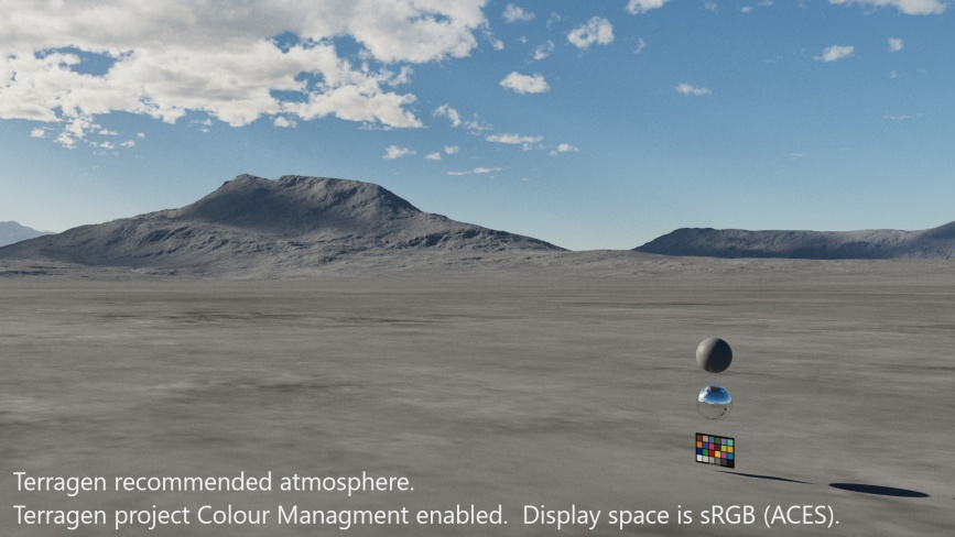 Terragen recommended atmosphere.  Terragen project Colour Management enabled.  Display space is sRGB(ACES).