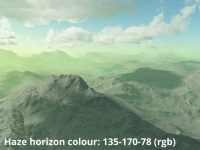 Horizon colour 135,170,78 (rgb)