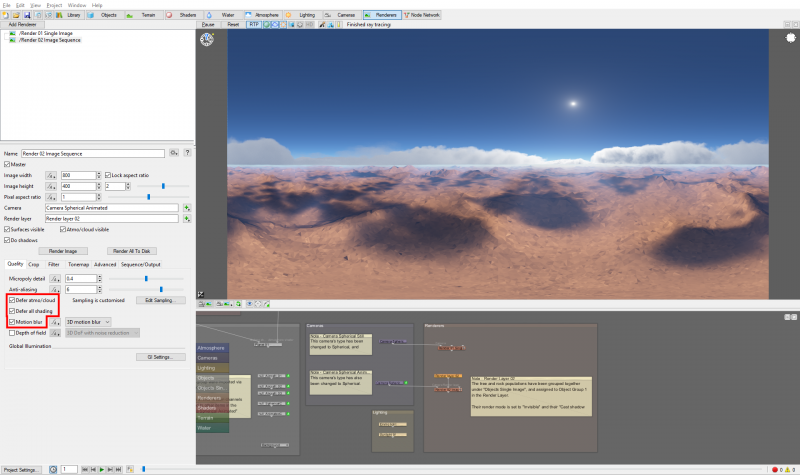 Enable motion blur and Defer atmo/cloud and Defer all shading.