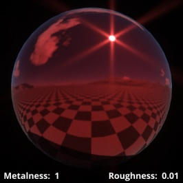 Metalness = 1 (metal), Roughness = 0.01