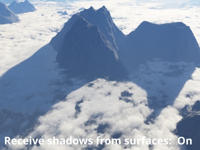 Receive shadows from surfaces enabled.