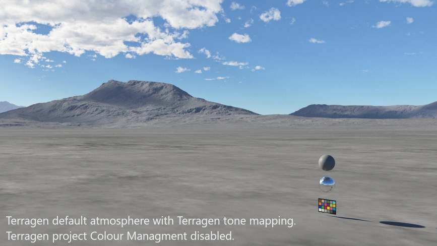 Terragen default atmosphere with Terragen tone mapping.  Terragen project Colour Management disabled.