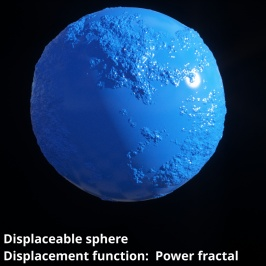 Displaceable 3D sphere object with Power fractal shader assigned to Displacement function setting.