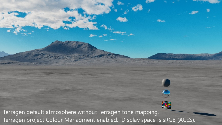 Terragen default atmosphere without Terragen tone mapping.  Terragen project Colour Management enabled.  Display space is sRGB(ACES).