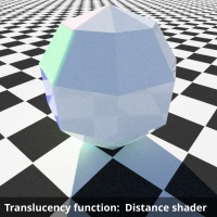 Translucency function using distance shader to limit effect to localized area.